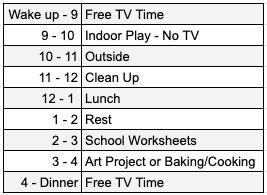 WFH Kids Schedule